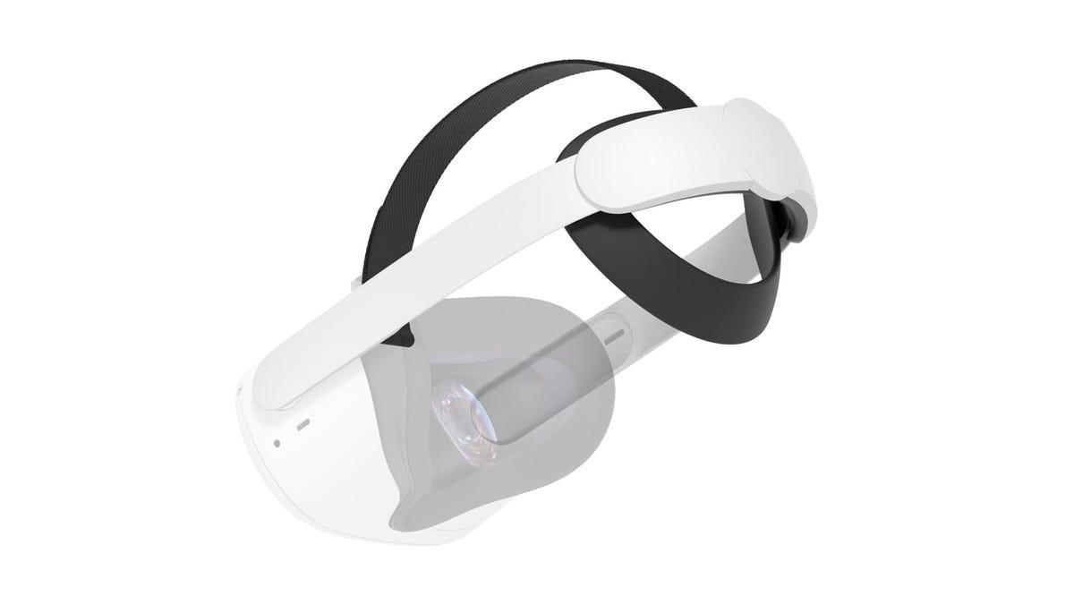 A transparent Oculus Quest 2 connected to an Elite Strap