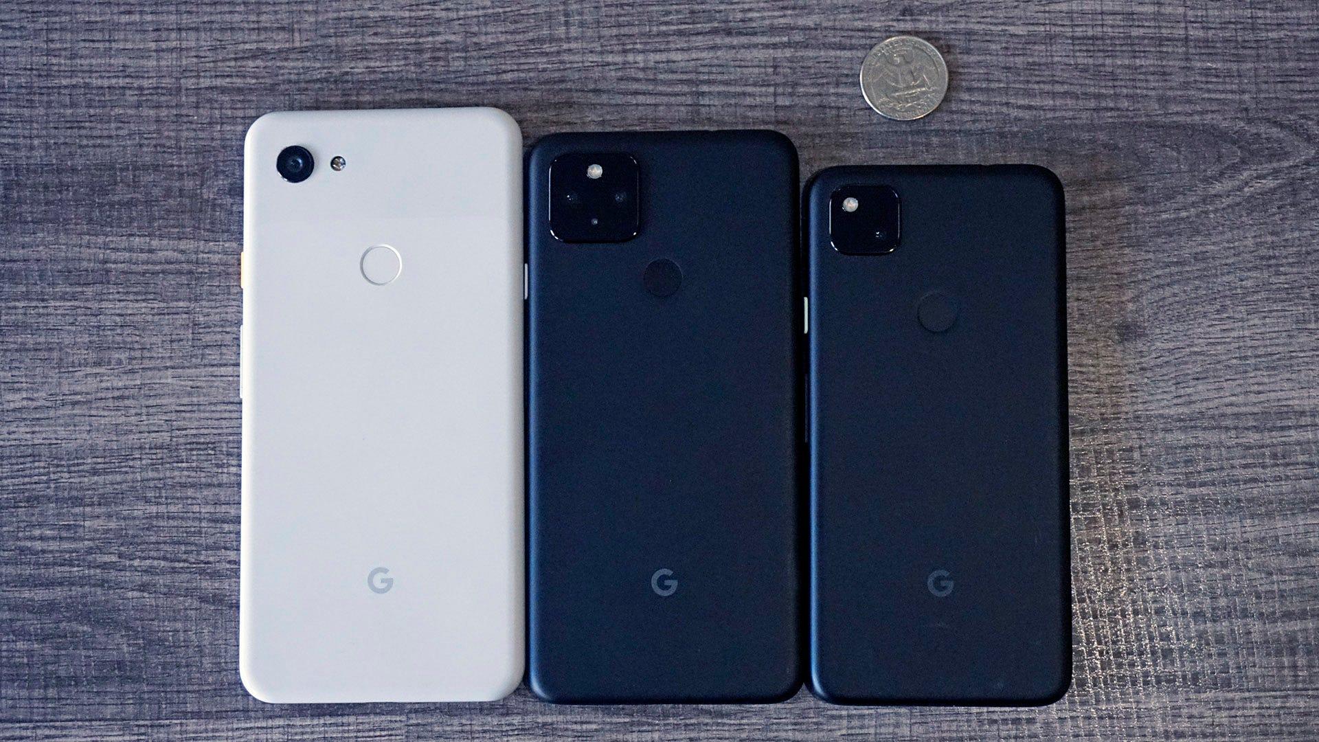Left to right: Pixel 3a XL, Pixel 4a 5G, Pixel 4a.
