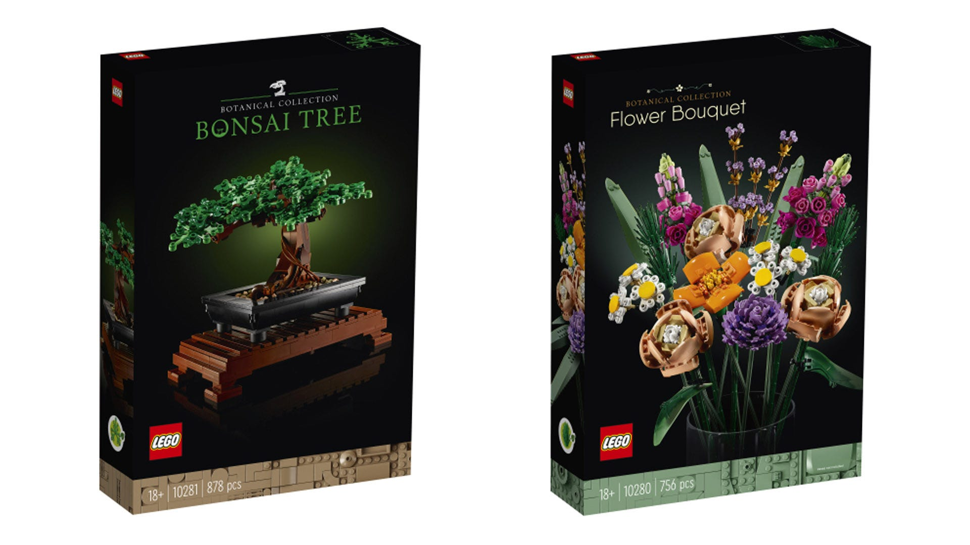 LEGO bonsai tree and flower bouqet