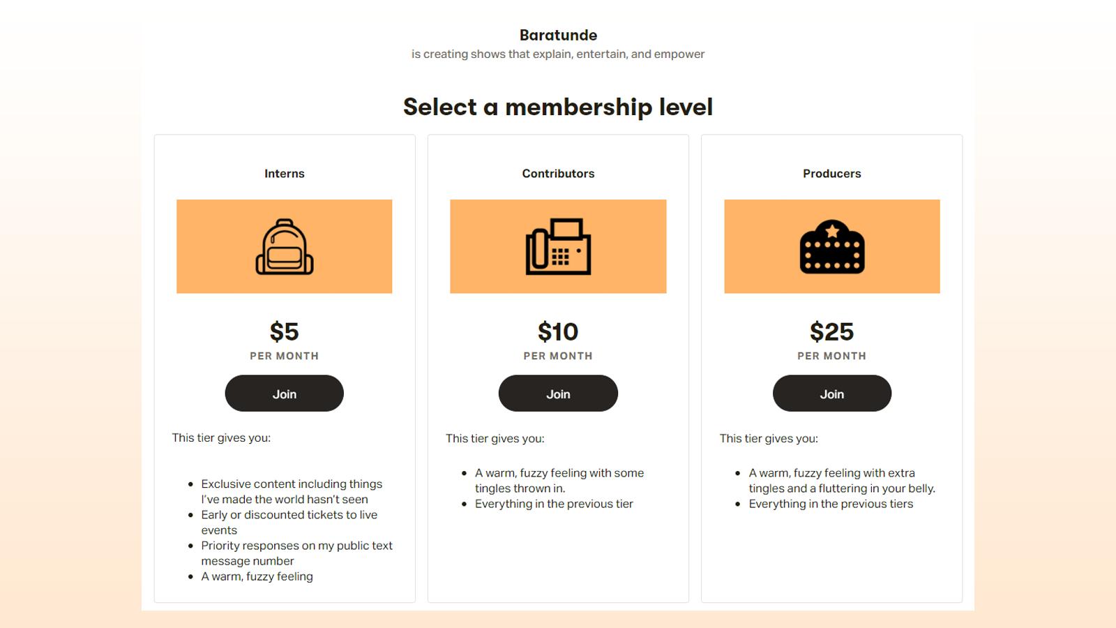 Patreon membership tiers example
