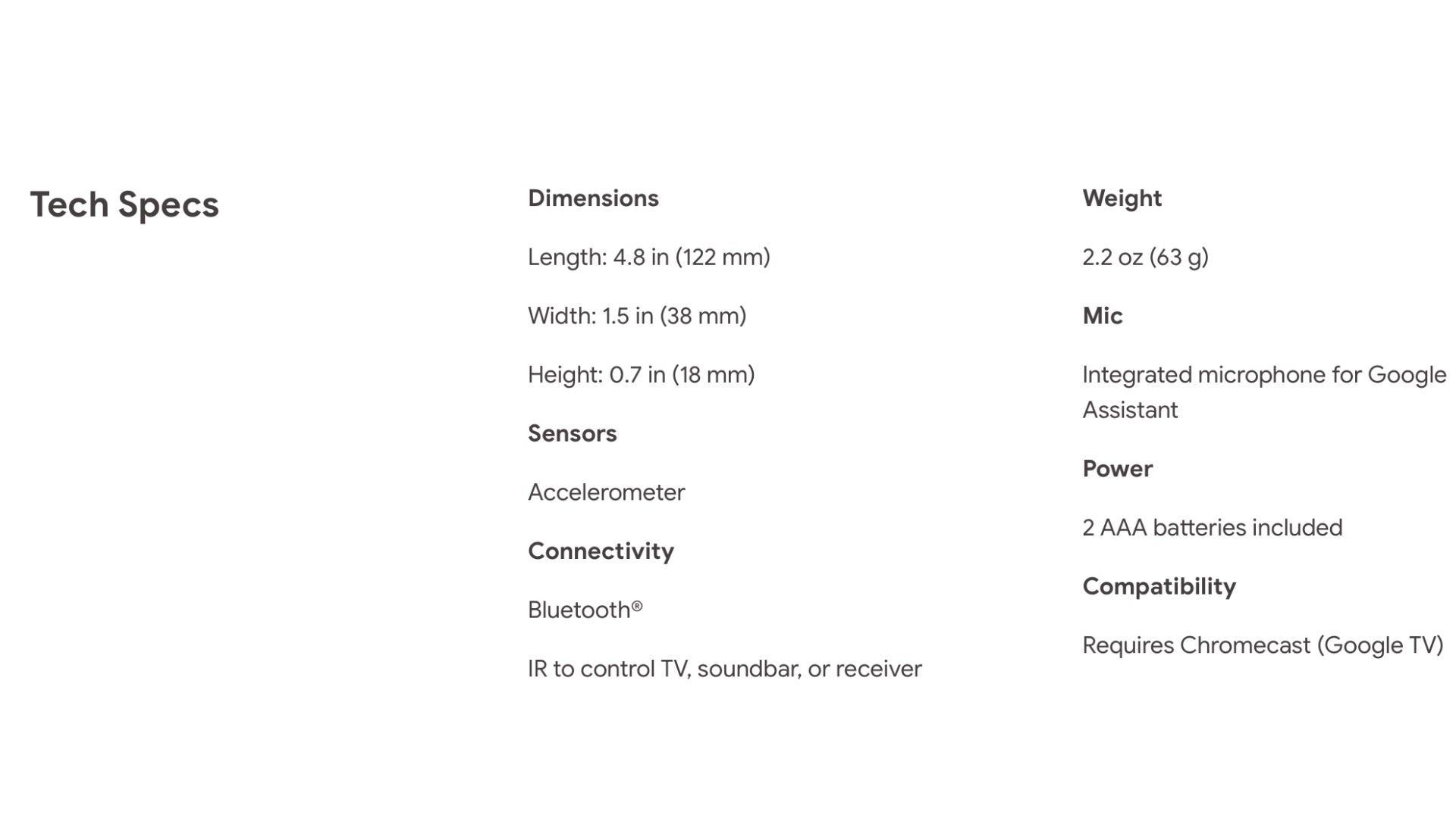 Spec sheet for the Chromecast remote
