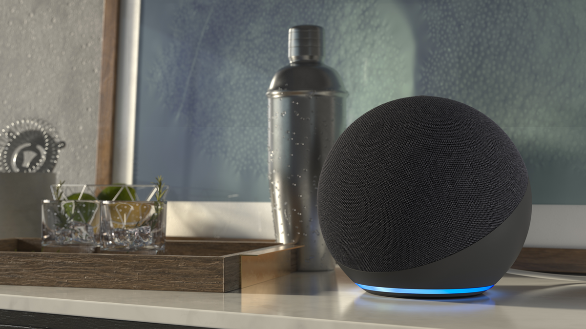 A photo of the Amazon Echo smart speaker.