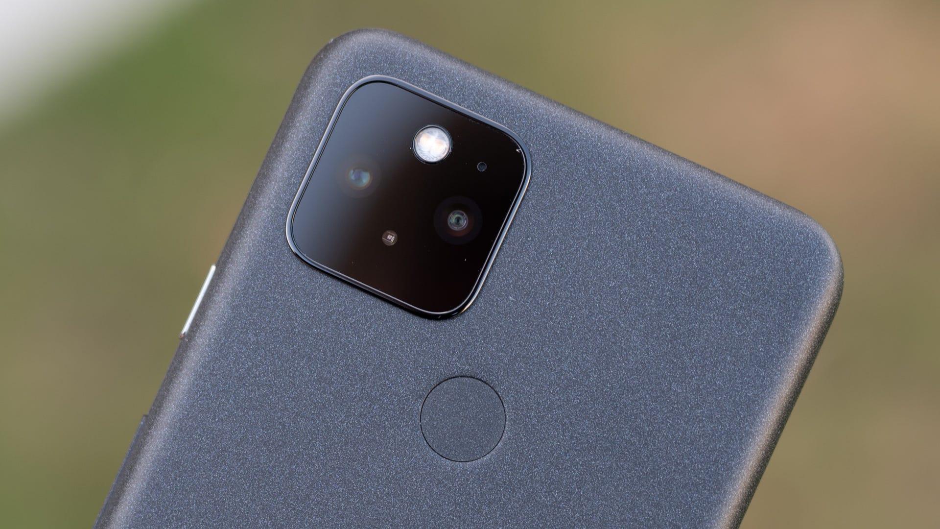 The black Pixel 5's camera and rear fingerprint sensor