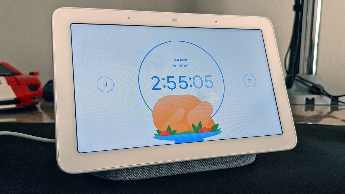 A photo of the Nest Hub Max with a Turkey Timer.