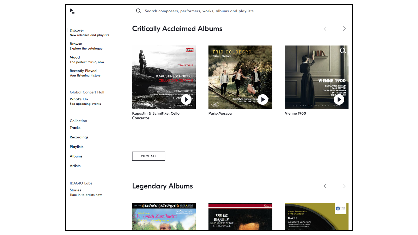 Idagio classical music streaming service home page