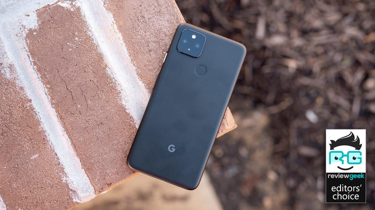 Pixel 4a 5G on brick background