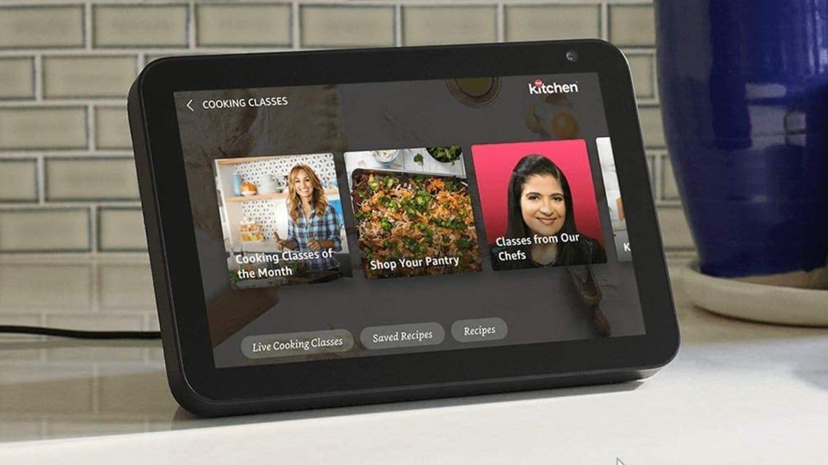 Amazon Echo Show 8 smart display on kitchen counter