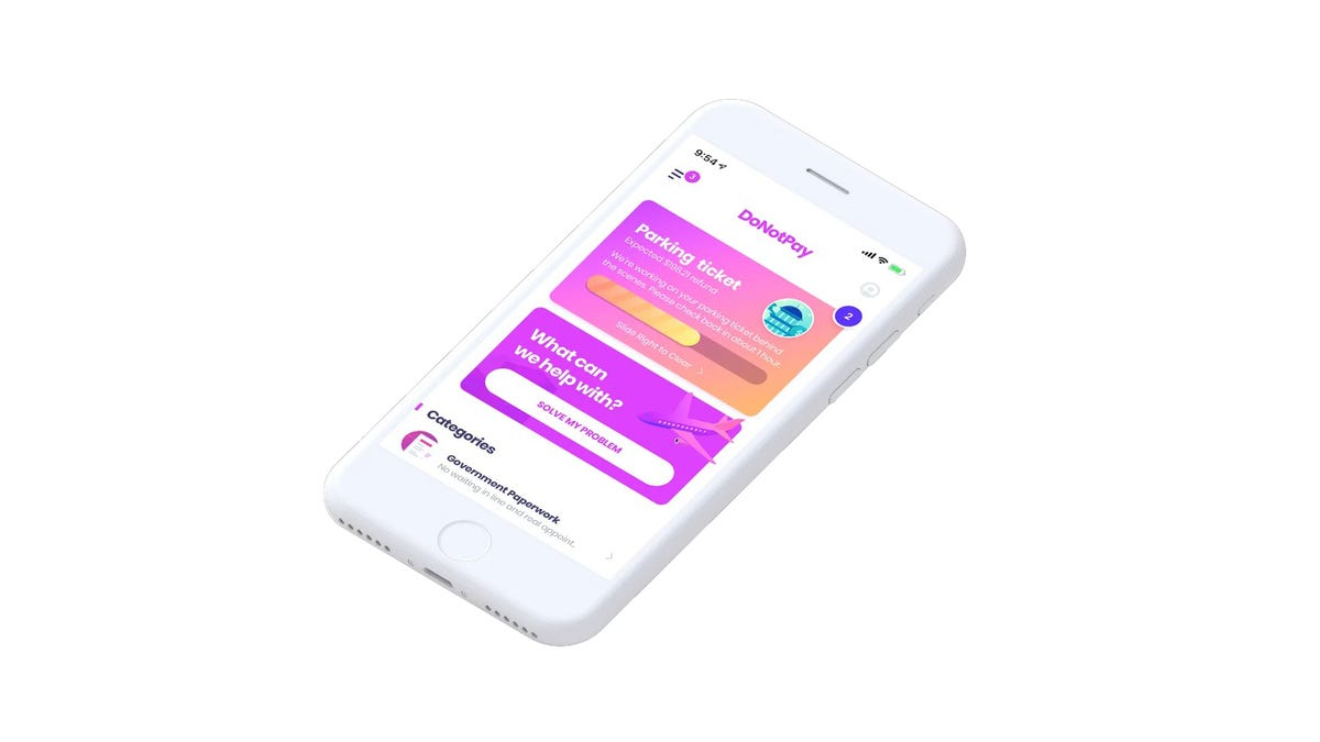 An iPhone with the DoNotPay interface.