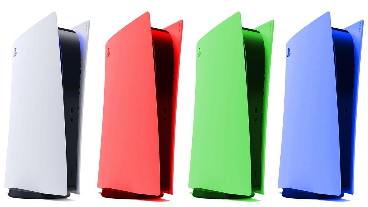 Multi-colored PS5 consoles.