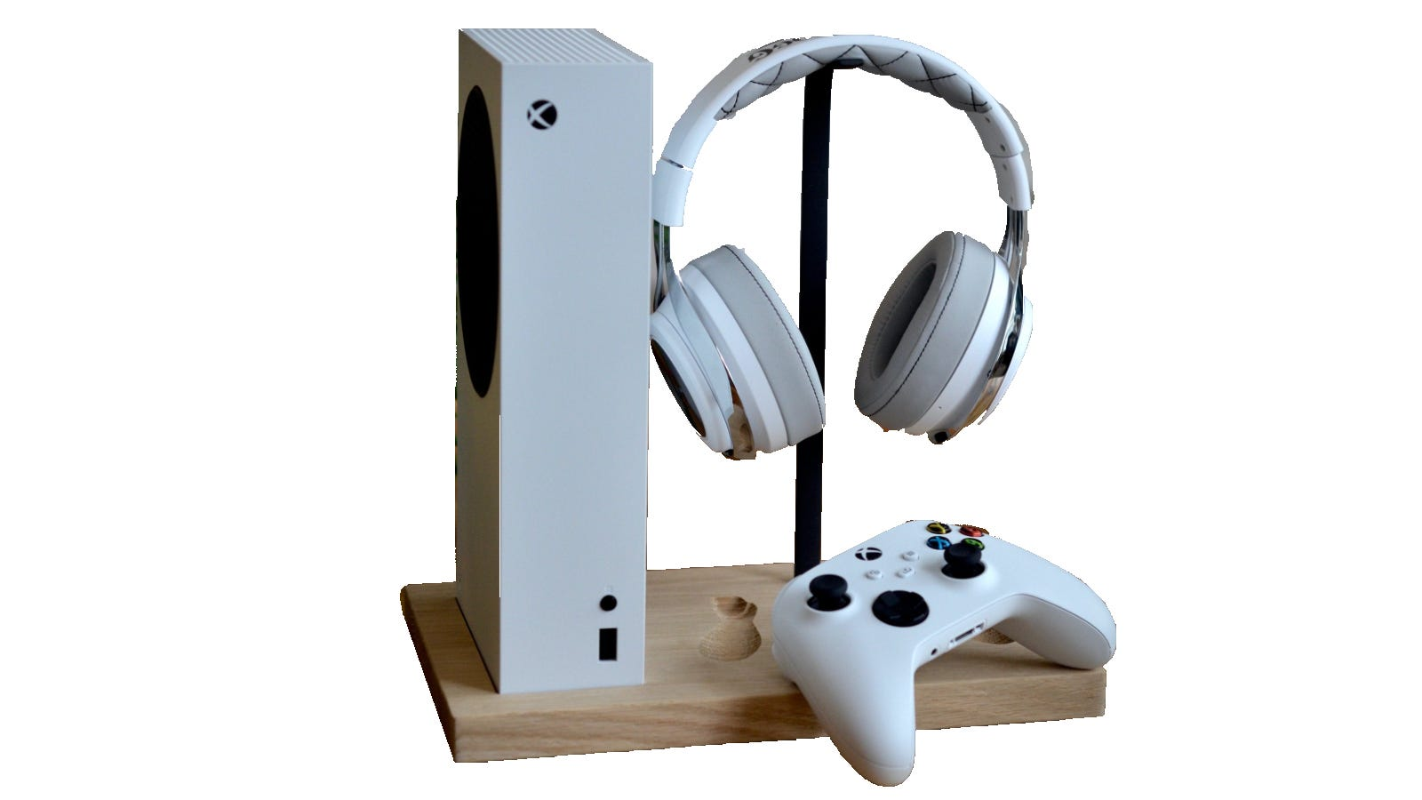 The Trifecta display stand with Xbox, Xbox Core Controller, and wireless gaming headset on displayed on it.