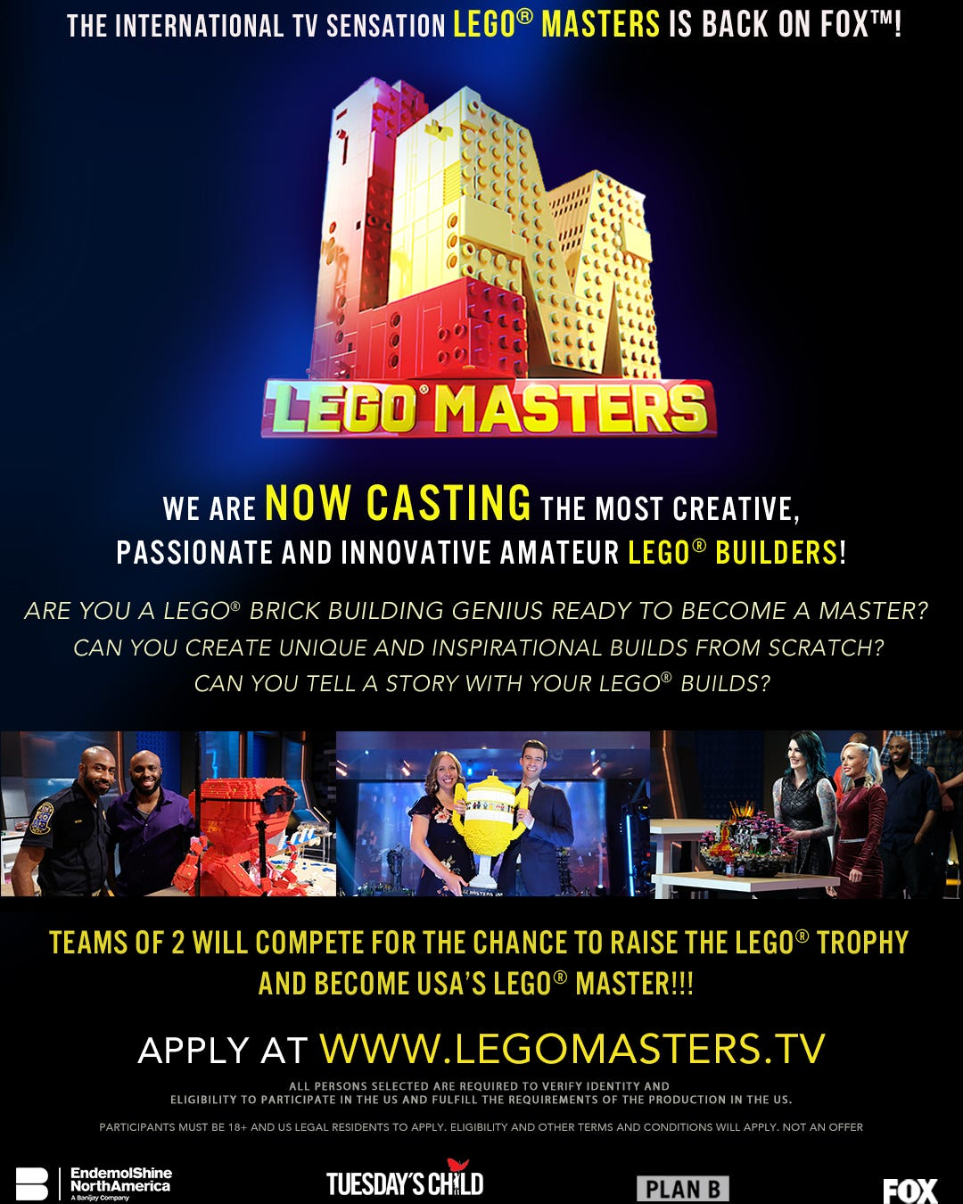 A LEGO Masters casting poster.