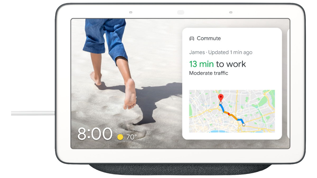 Google Nest Hub with directions to work on the screen.