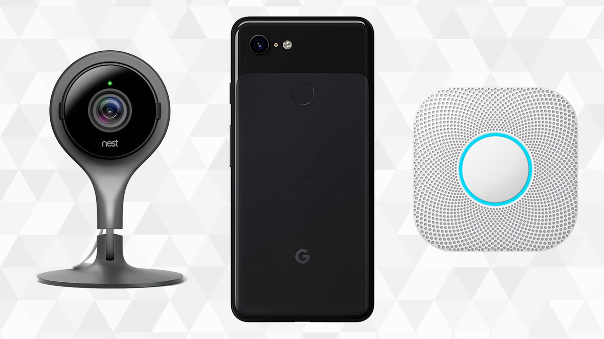 Google Refurbished products against geometric background