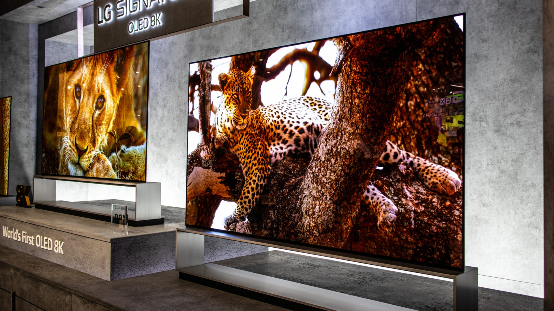 Two LG 8K TVs on display