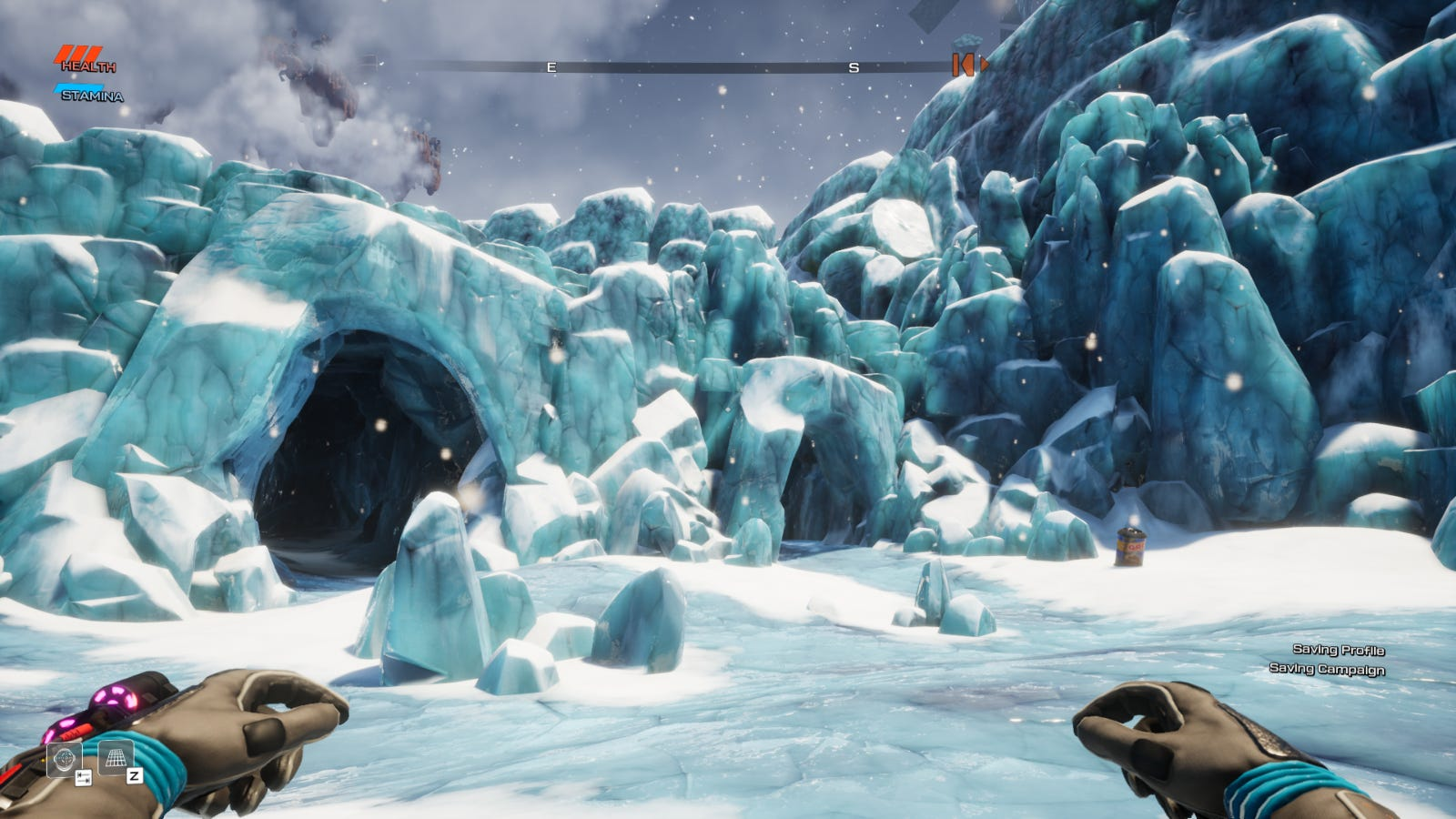 A frozen glacier in Journey to the Savage Planet