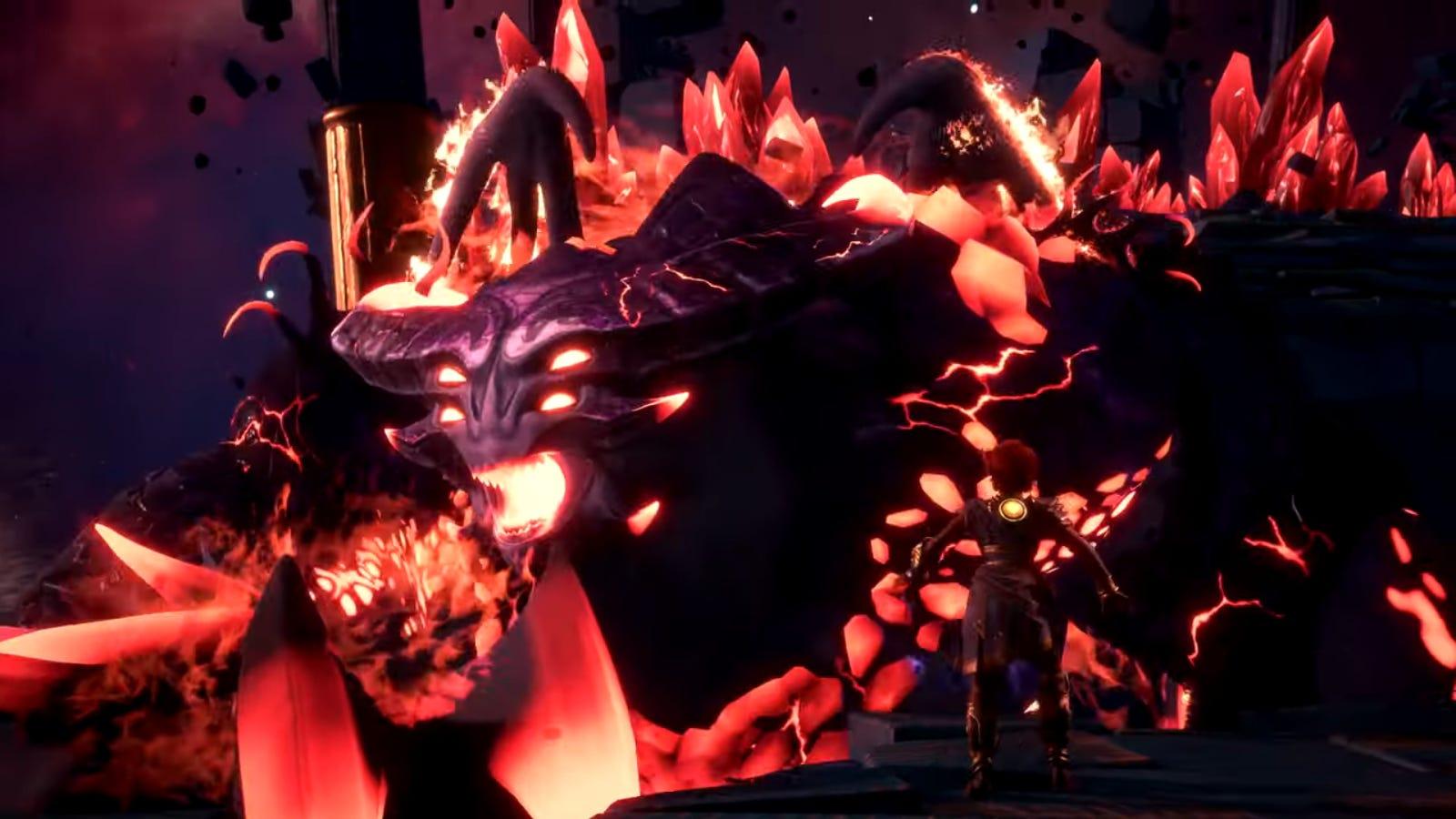 Fenyx in 'Immortals Fenyx Uprising' taking on the Titan Typhon.