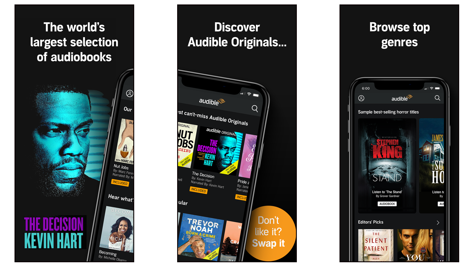 Audible app for finding and listening to audiobooks and podcasts