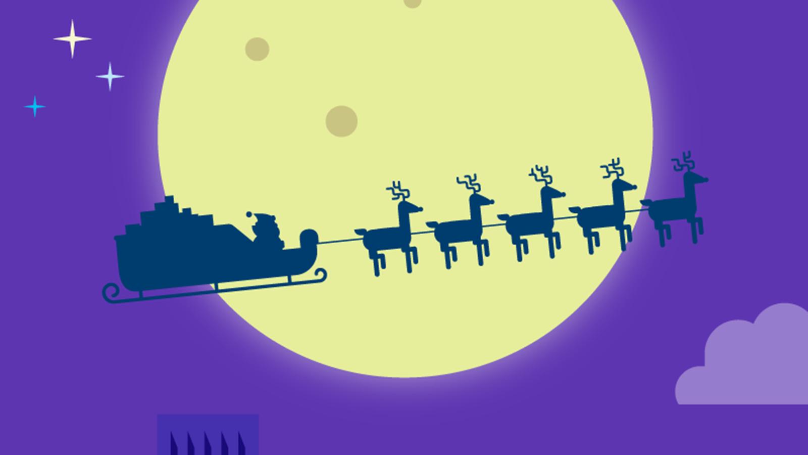 Santa on his sleigh flying through the night with reindeer.