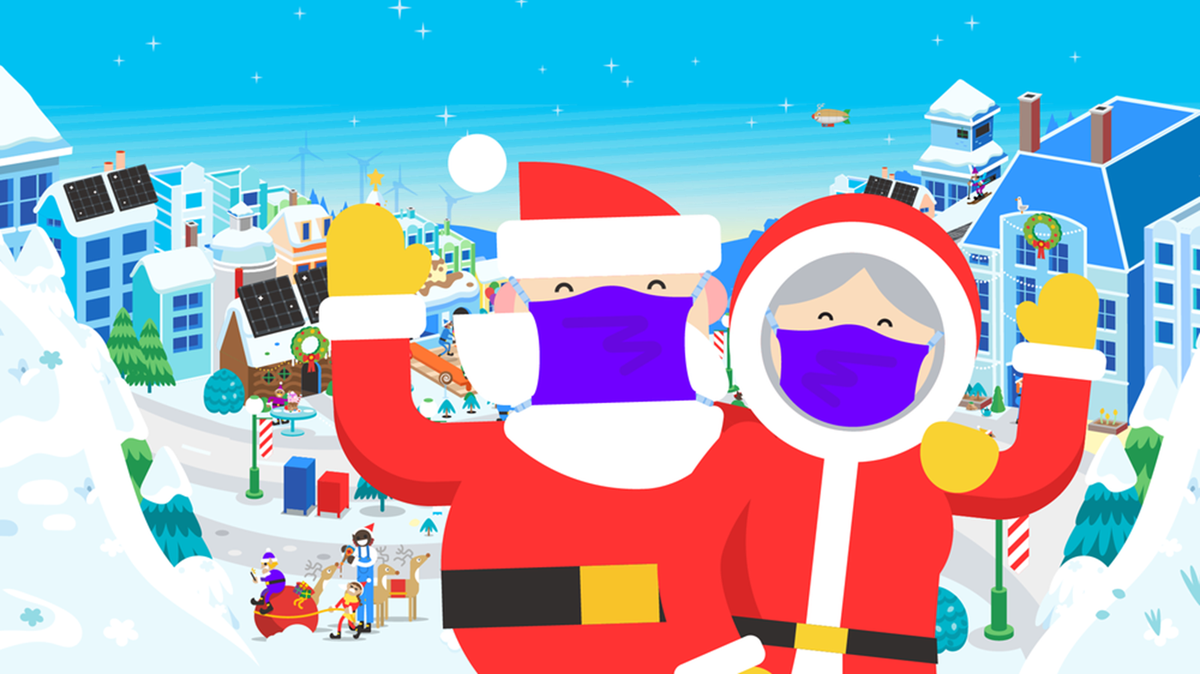 Santa and Ms. Clause in a village wearing masks.