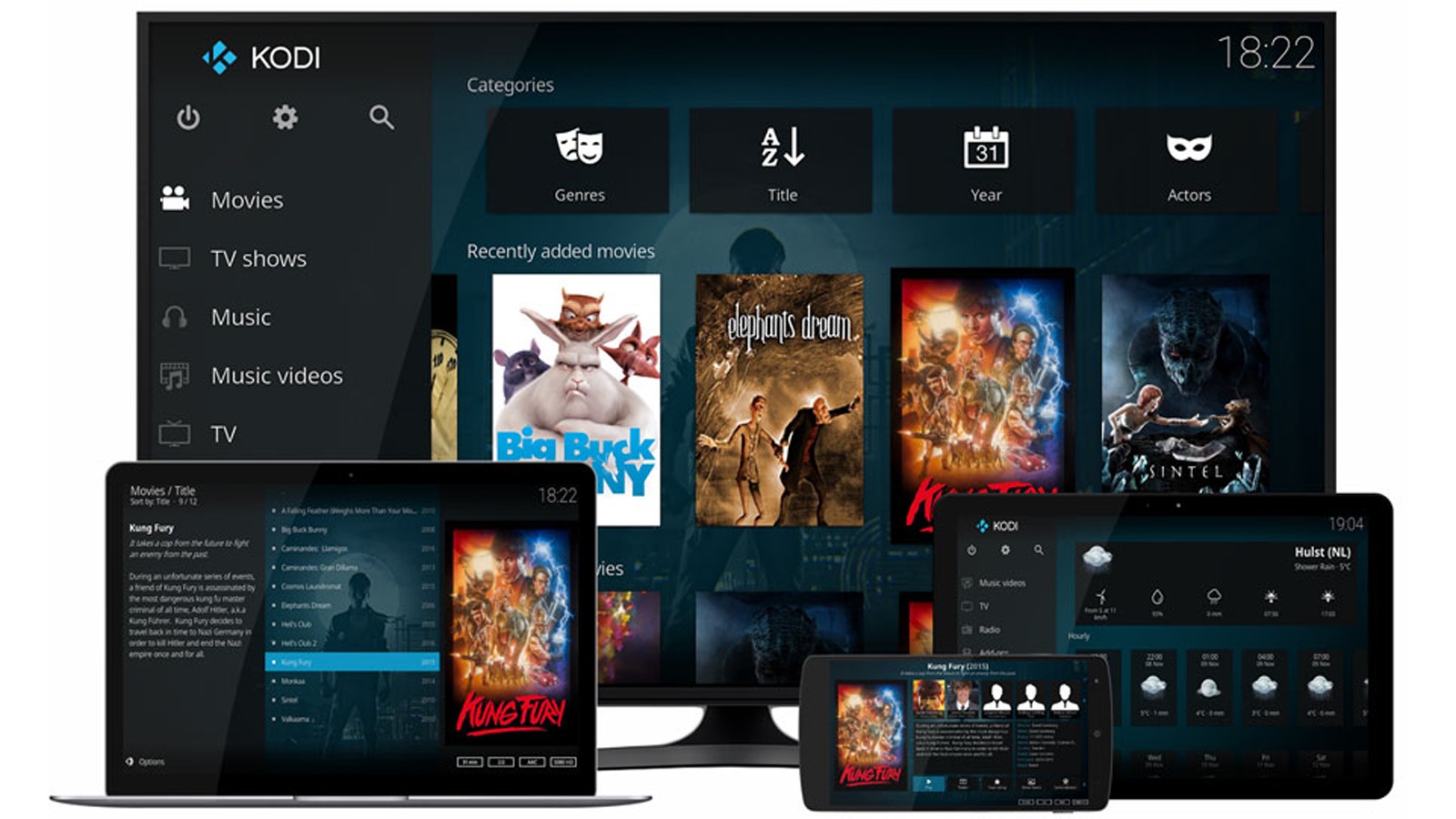 Kodi on TV, laptop, tablet, and smartphone