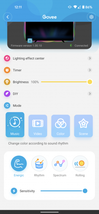 The music mode options