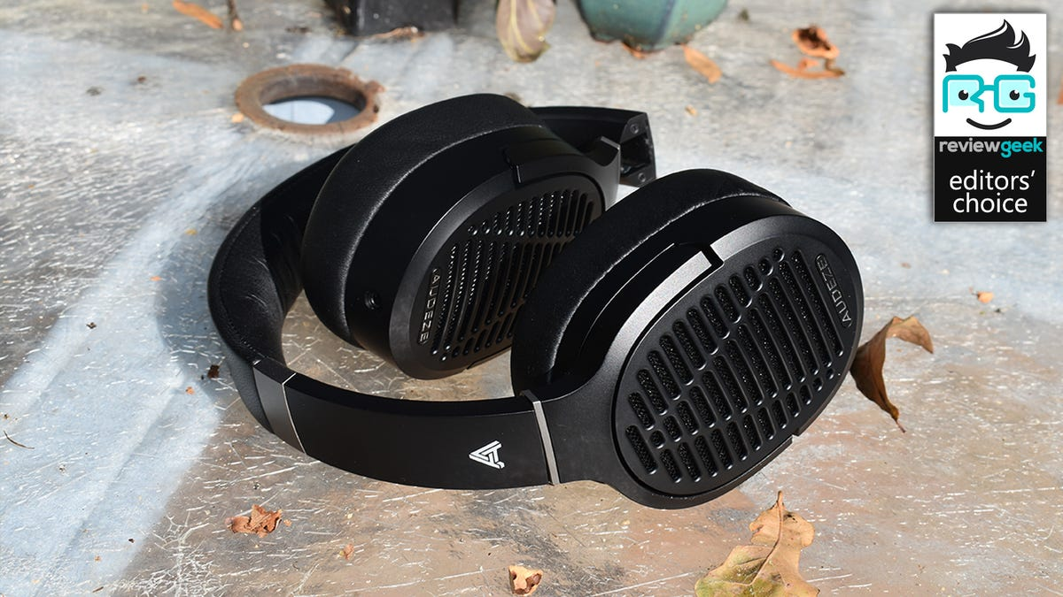 The Audeze LCD-1 headphones on an outdoor table.