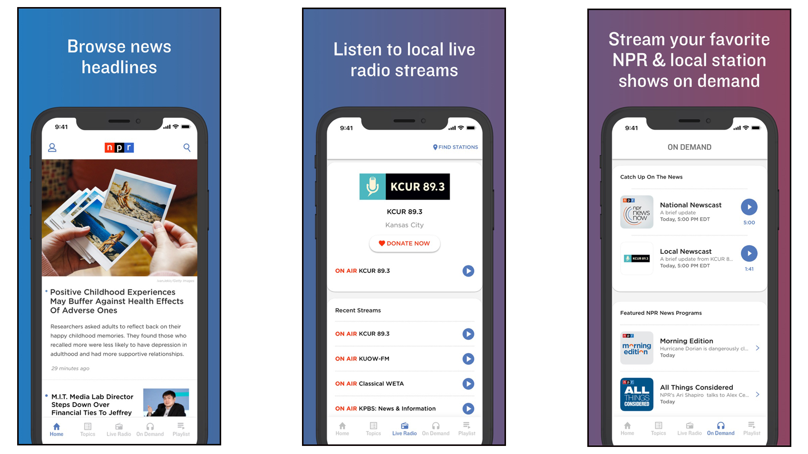 NPR app for listening to the news and news-centric programming