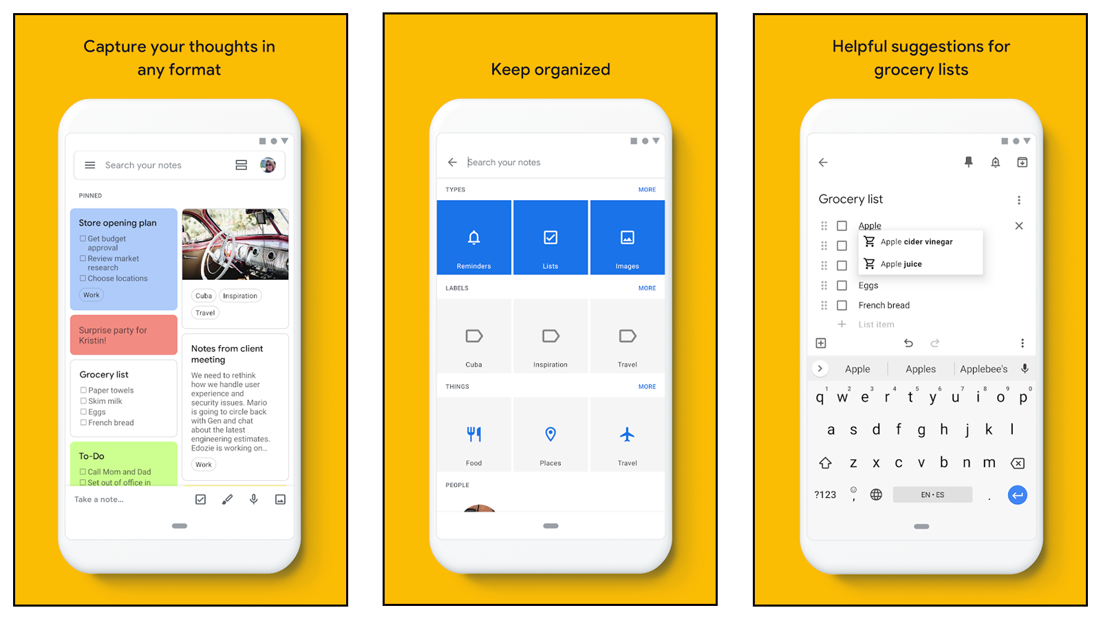 Google Keep app for making easy notes and to-do lists