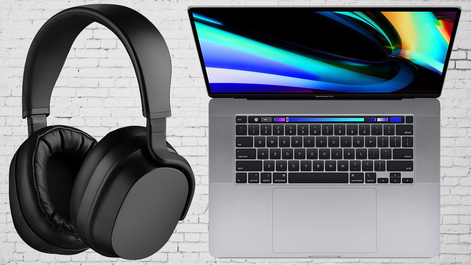 16-inch Apple MacBook Pro and Drop + THX Panda wireless headphones against white brick background