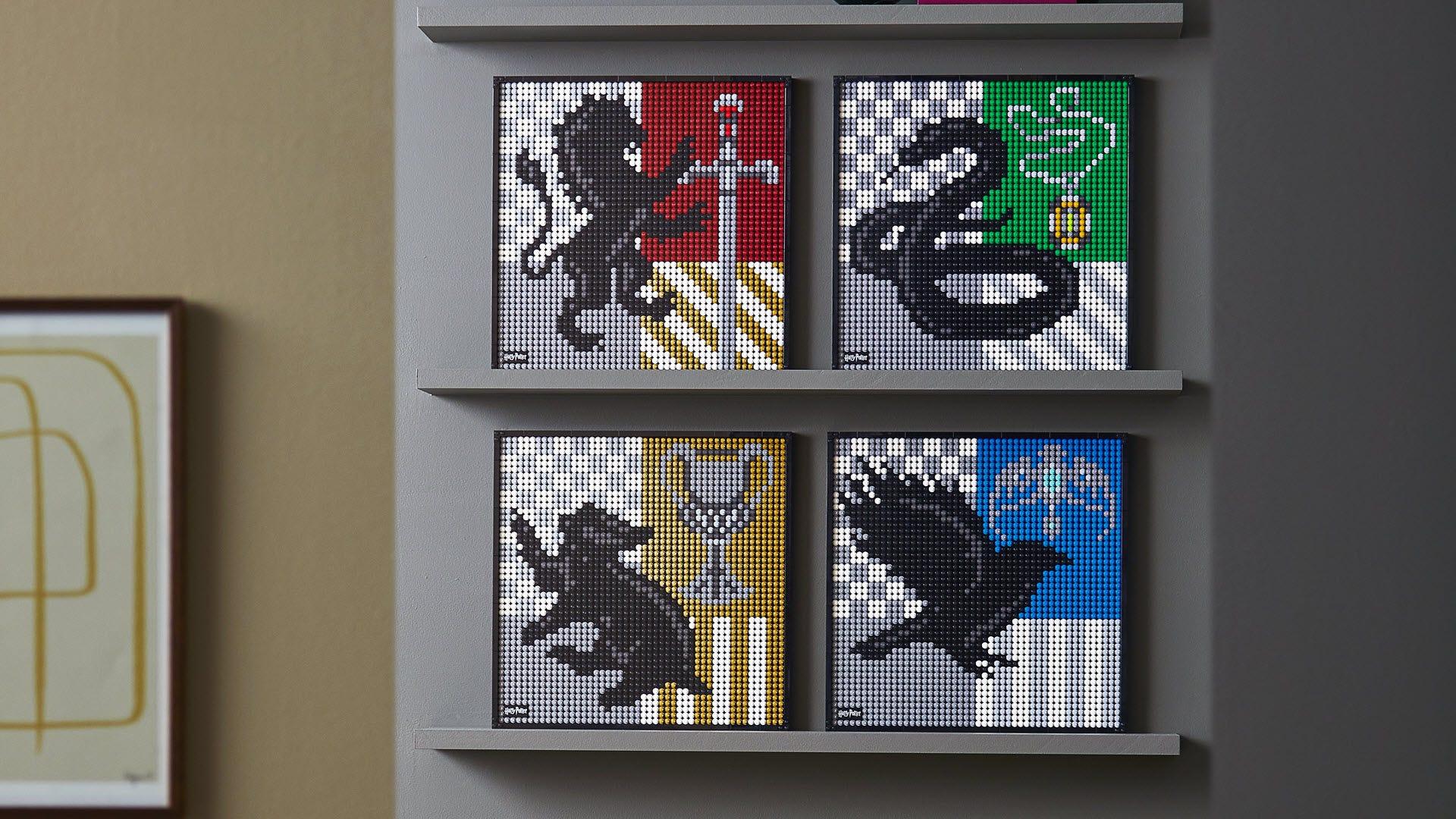 Four Hogwarts Crests side by side in LEGO form