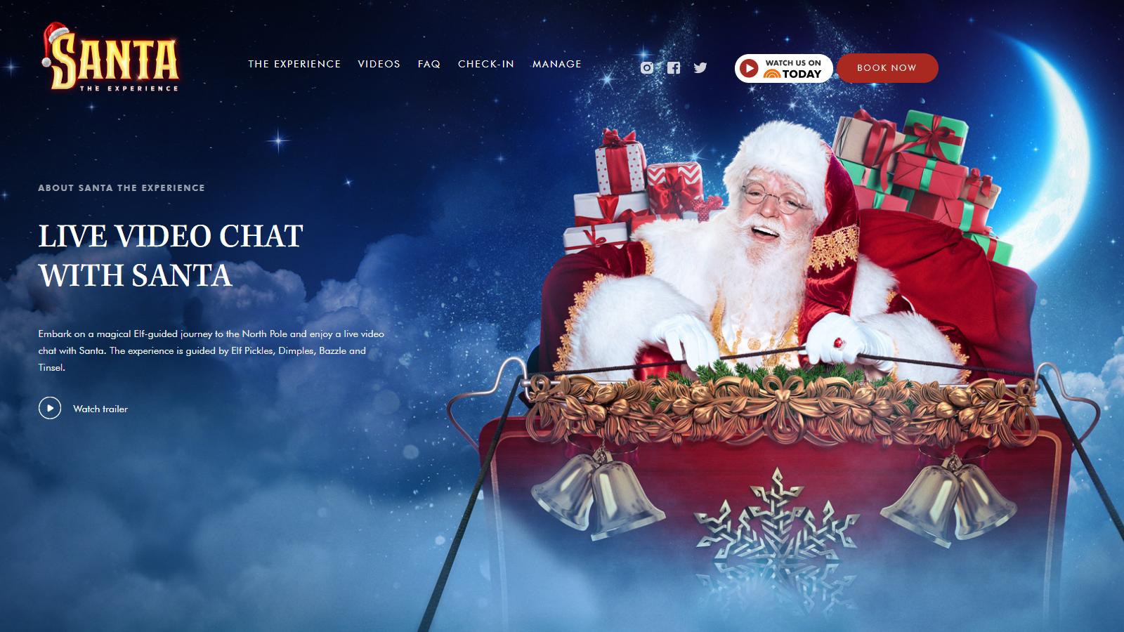 Santa the Experience virtual santa calls with santa in his sleigh in the night sky