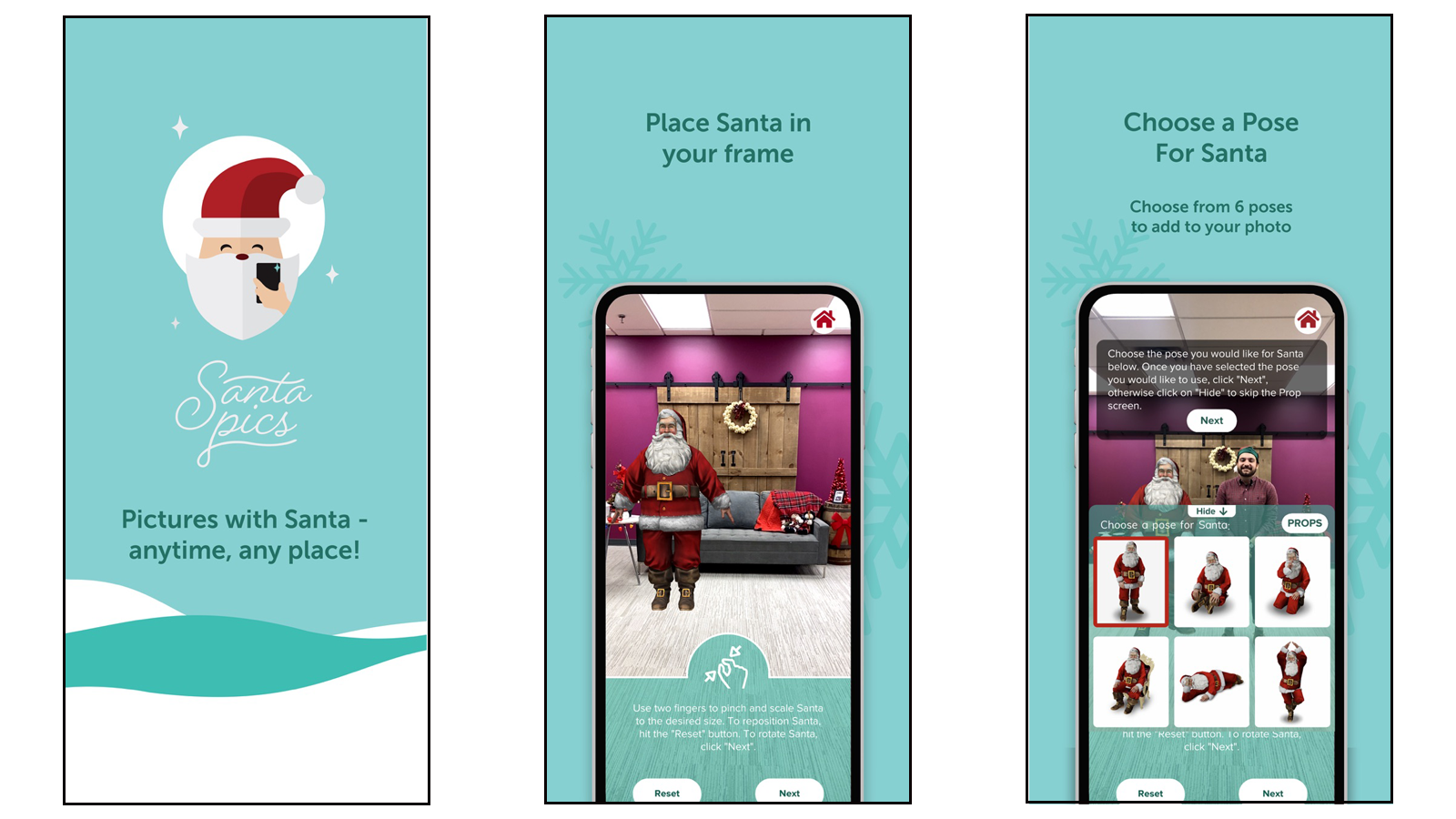Santa Pics app with AR Santa placement and position options
