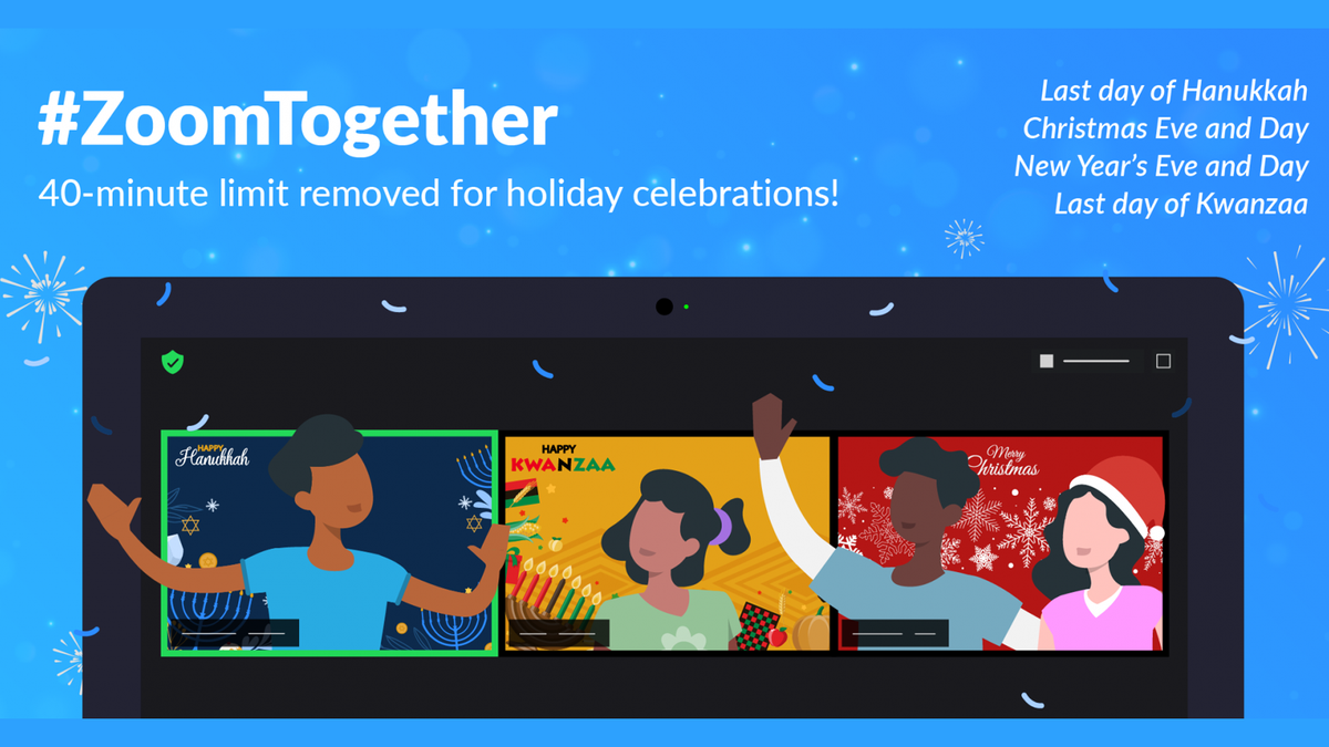 A banner celebrating Zoom's unlimited meeting time over the holidays.