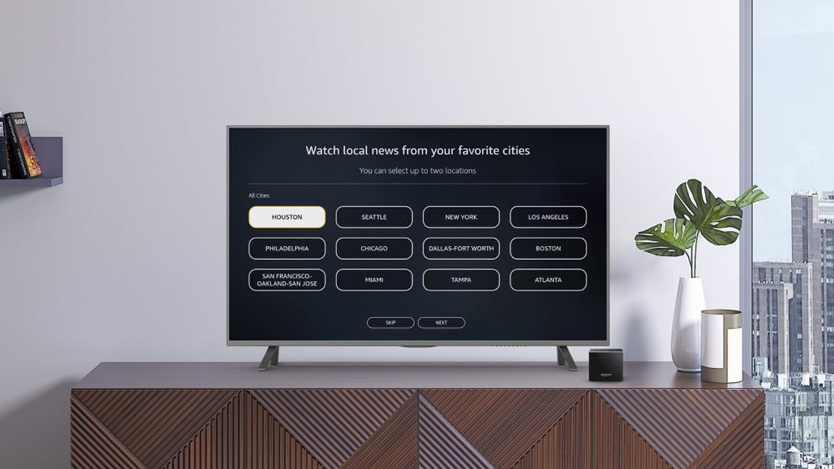 A Fire TV device asking which local news to watch.