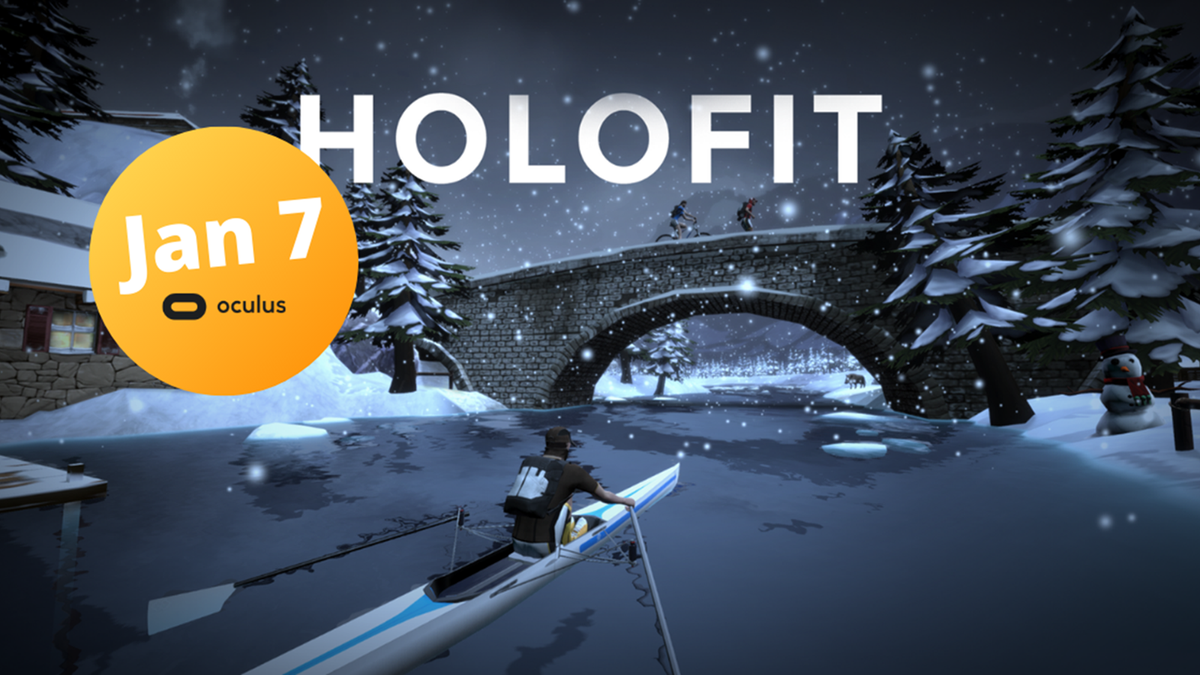 A person rowing in a virtual snowy environment.