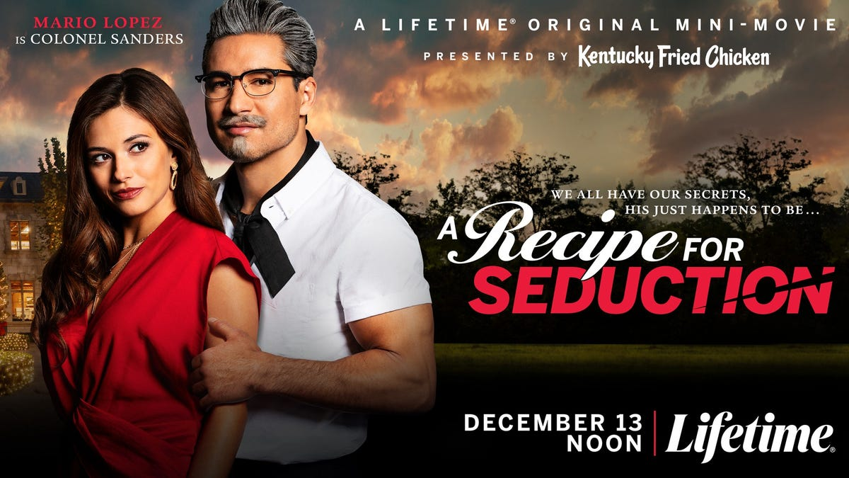 A movie poster for 'A Recipe for Seduction' with Mario Lopez as Colonel Sanders