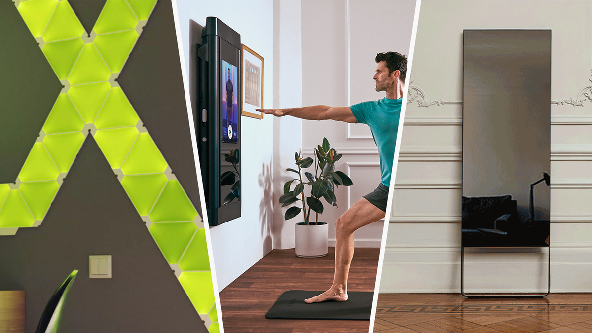 collage of Nanoleaf light panels, Tonal workout system, and Mirror home gym