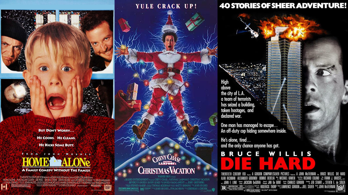 Christmas Movies hero image featuring Home Alone, National Lampoon's Christmas Vacation, and Die Hard movie posters