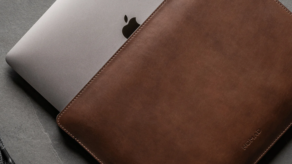 The Nomad leather sleeve with a MacBook Pro.