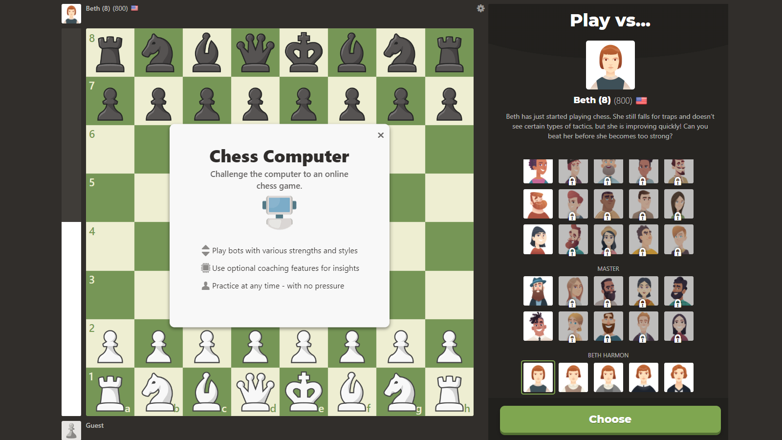 One of Chess.com's seven Beth Harmon chess bots