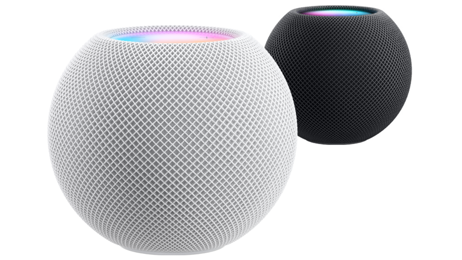 White Apple HomePod mini with black mini behind it