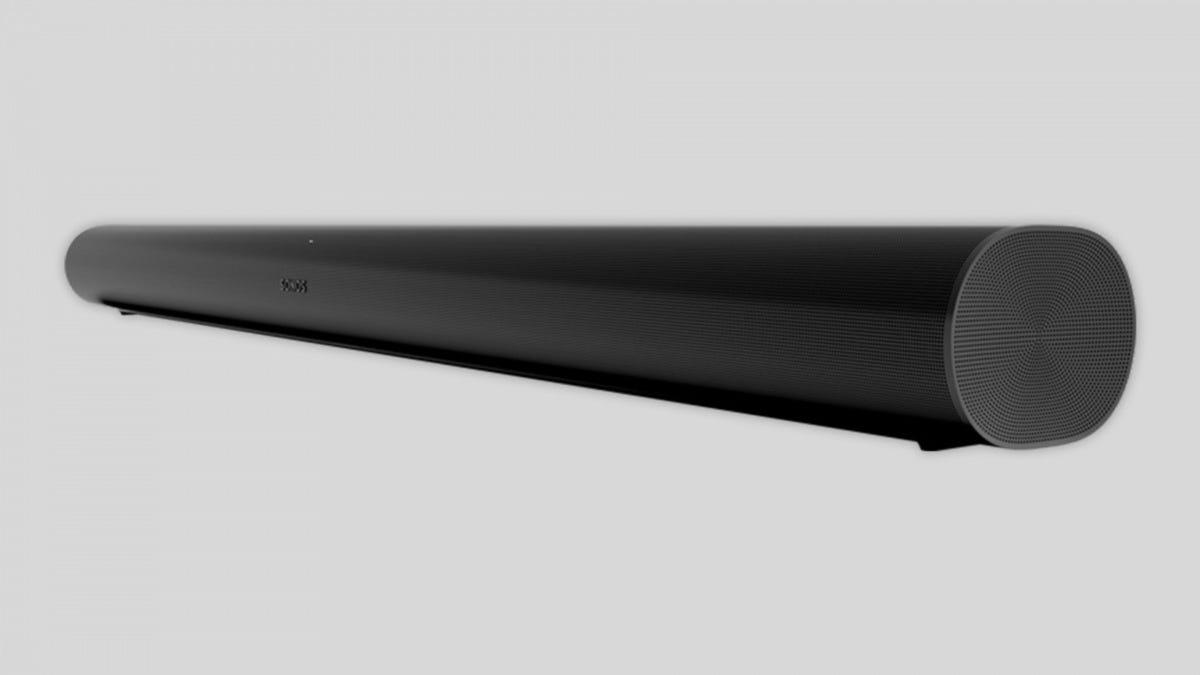 A dark grey Sonos Arc on an empty background.