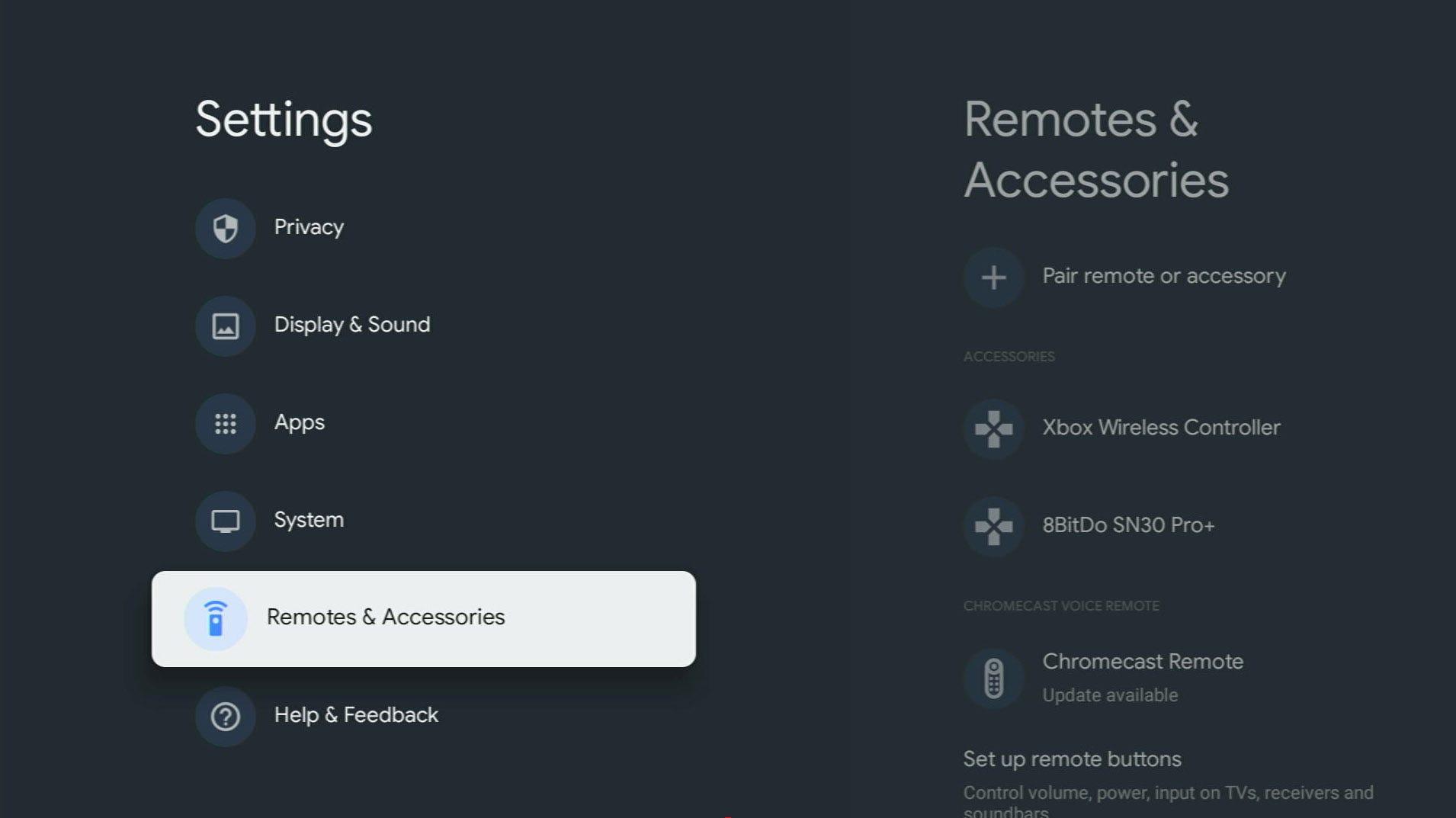 Chromecast with Google TV Bluetooth menu