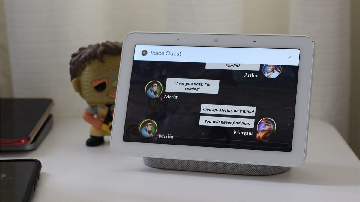 A Nest Hub playing the game 'Voice Quest'