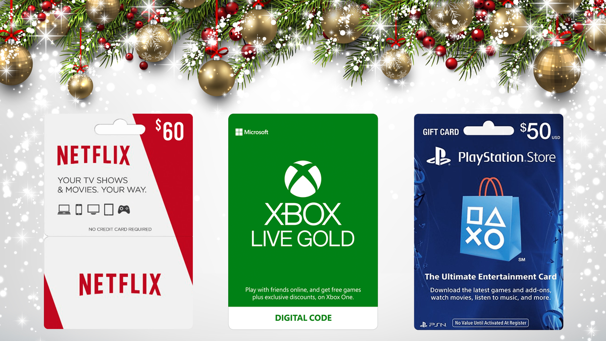 Netflix, Xbox, and PlayStation gift cards atop winter holiday background