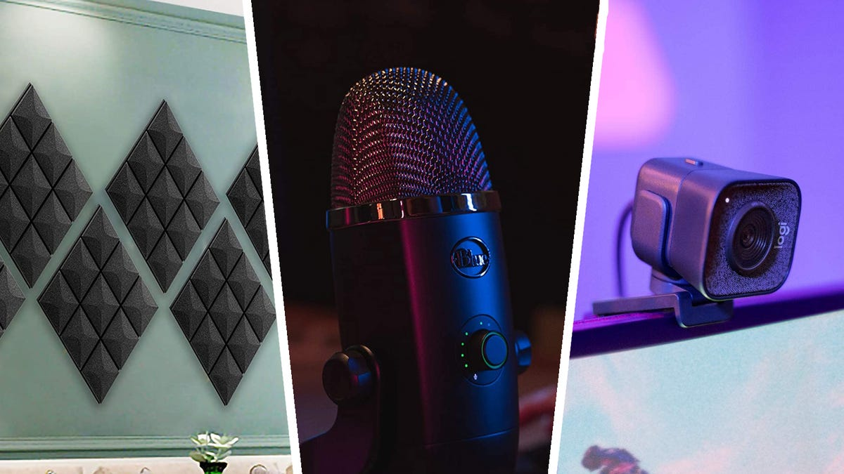 Collage of Fstop Acoustic Foam, Blue Yeti X, and Logitech StreamCam
