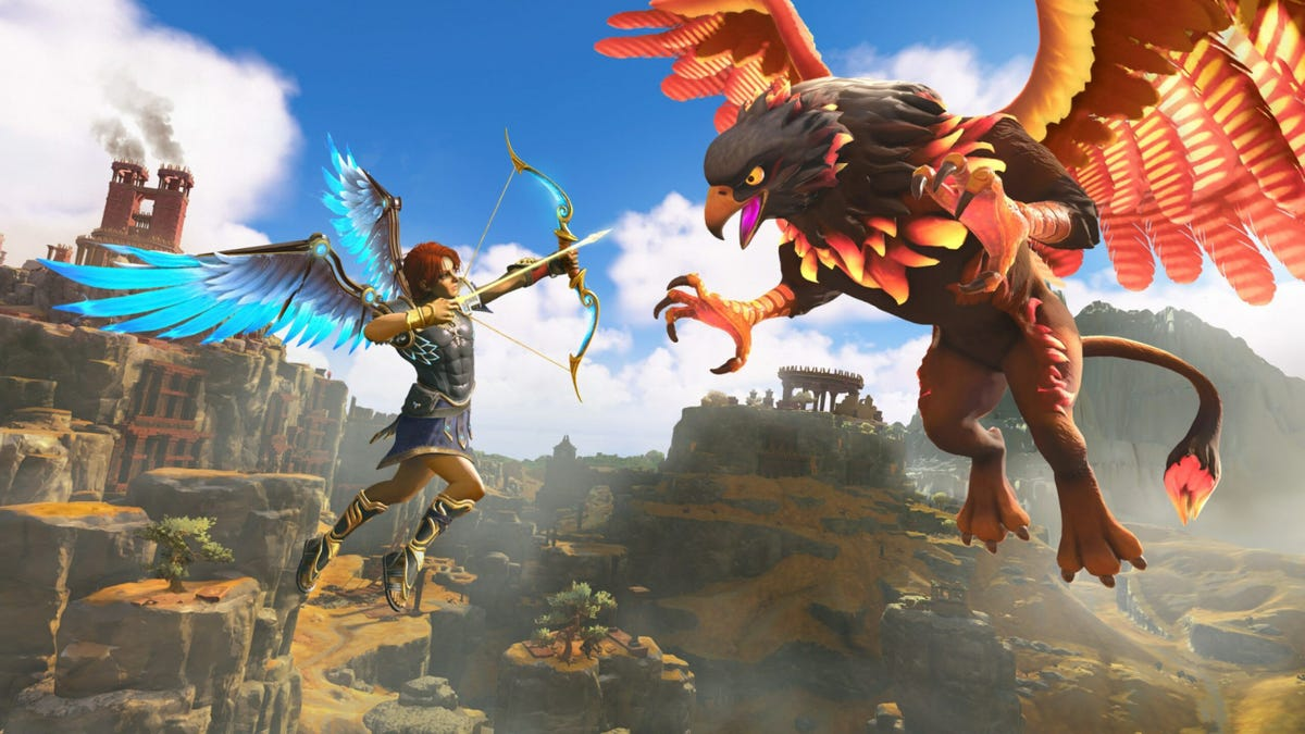 Fenyx from 'Immortals Fenyx Rising' in a confrontation with a Griffin.