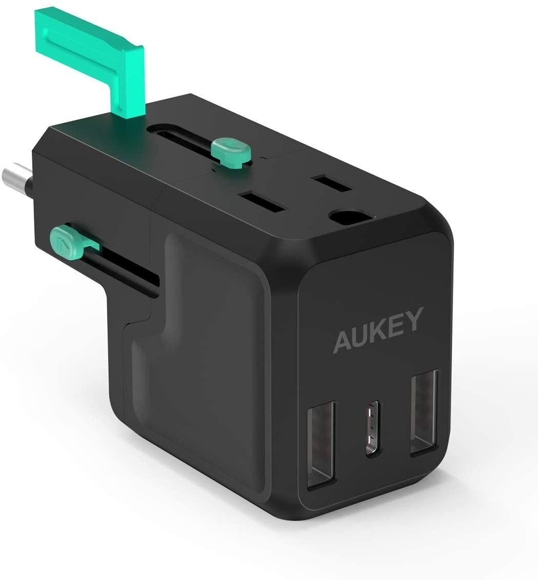 Travel Adapter,AUKEY Union One Series Multi-Function,AC Output up to 2300W, 2X USB Ports, 1x USB-C Port,Universal Power Adapter for 150+ Countries, UK, US, AU, EU Plug Adapter Converter with 4 Ports