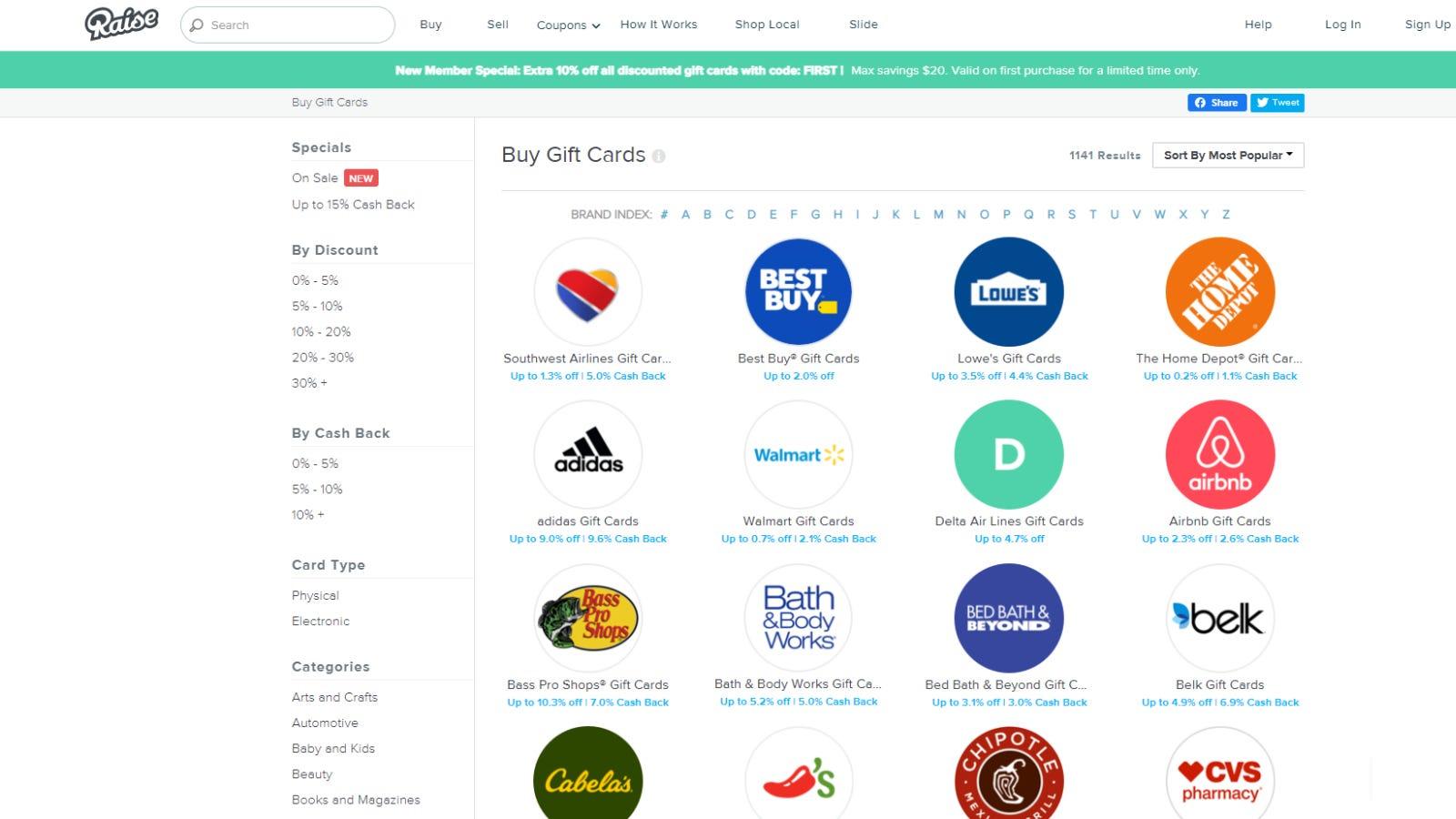Raise.com browsing page