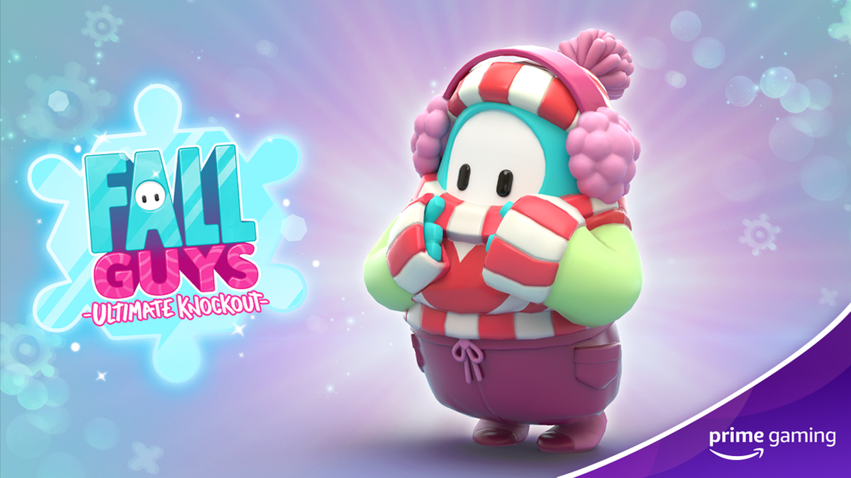 """""""Fall Guys"""" game winter logo and avatar in new winter costume"""